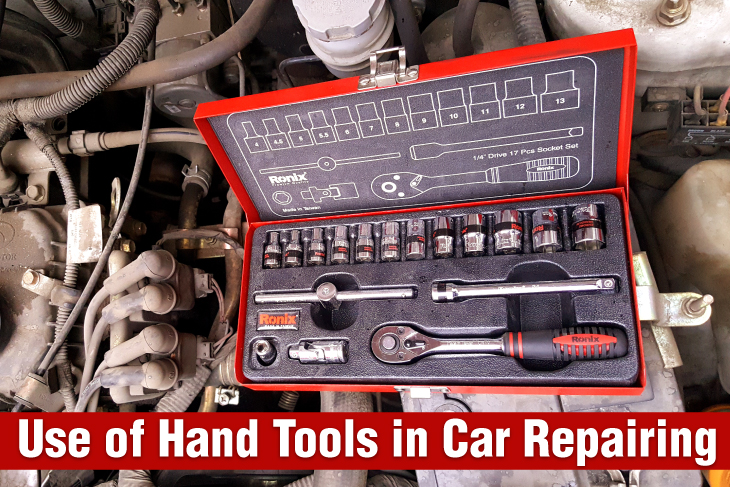 Use of hand tools in repairing cars
