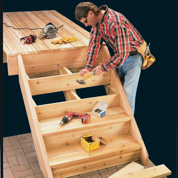 Place the Risers and DIY Stair Treads